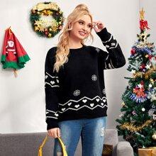 Plus Heart & Snowflake Pattern Sweater