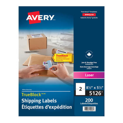 Avery@ Shipping Permanent Adhesive Laser Labels - Box of 100 sheets,5-1/2 x 8-1/2