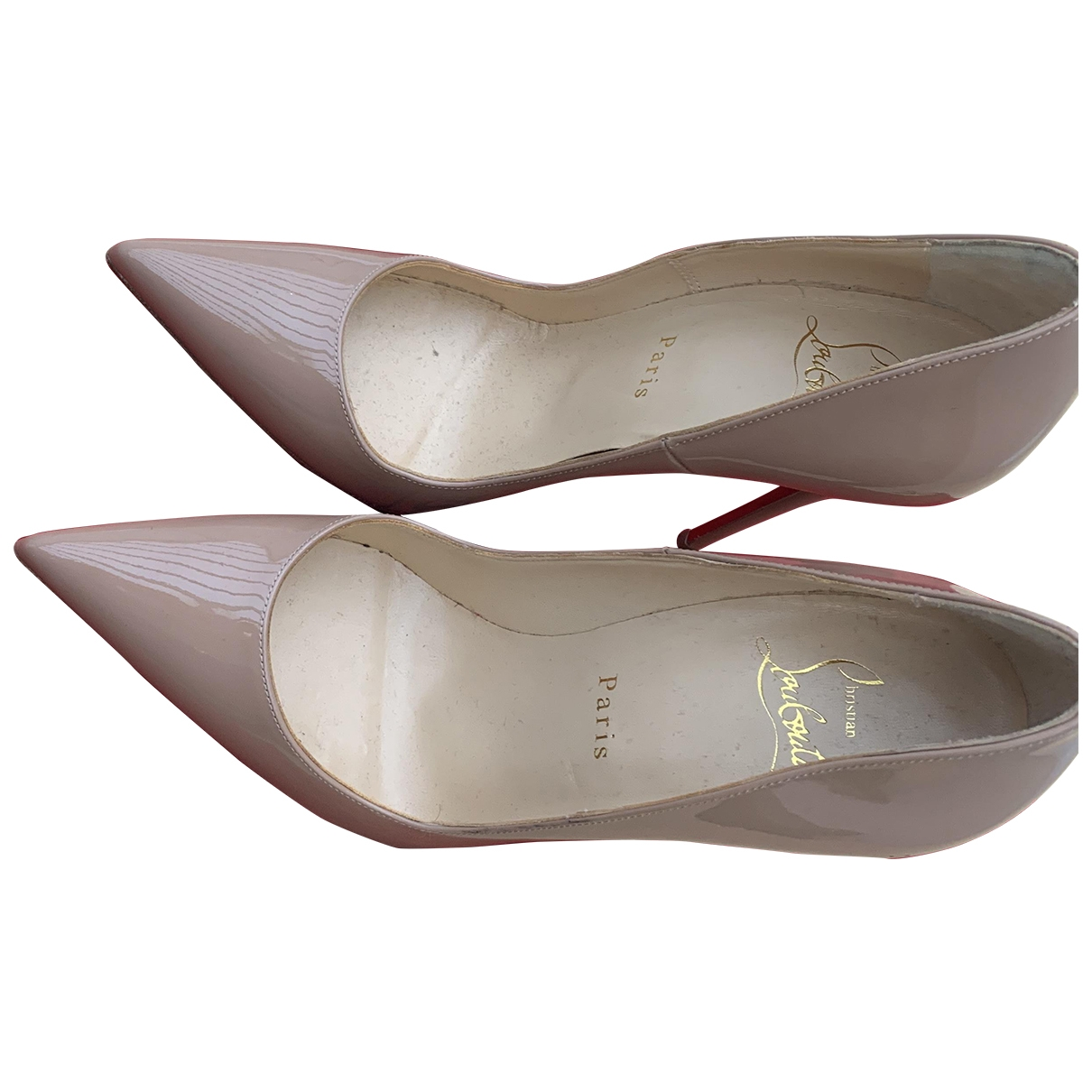 Christian Louboutin Pigalle Beige Patent leather Heels for Women 36.5 EU