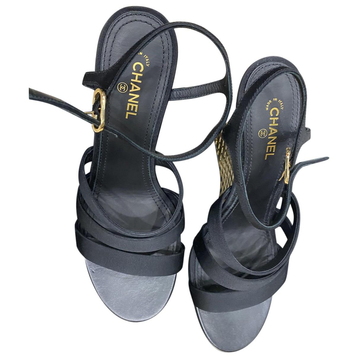 Chanel - Sandales   pour femme en toile - noir