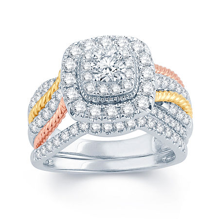 1 1/2 CT. T.W. Diamond 14K White, Yellow & Rose Gold Engagement Ring, 7 , No Color Family