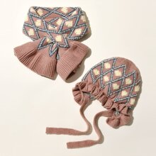 Toddler Girls Geo Pattern Beanie & Scarf