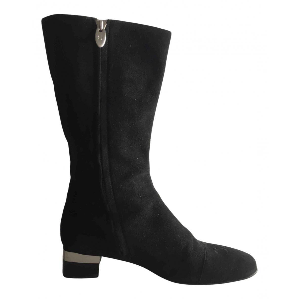 Chanel - Bottes   pour femme en suede - noir