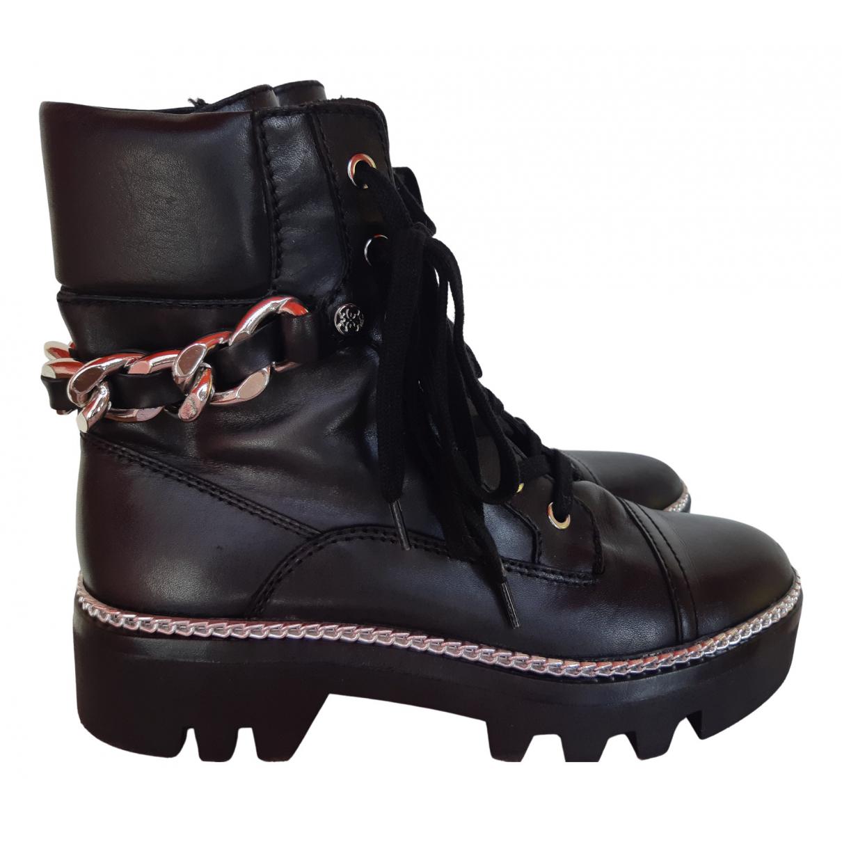 Guess - Bottes   pour femme en cuir - noir
