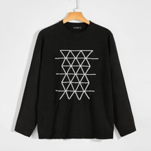 Guys Round Neck Geo Sweater