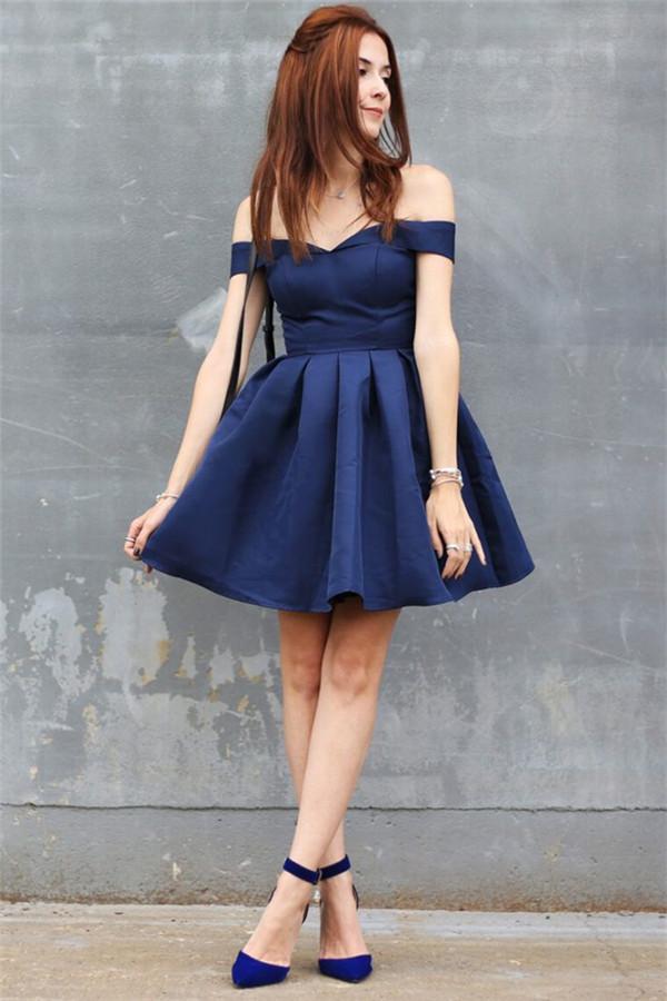 Fuera del hombro vestido de regreso a casa azul marino barato | Vestidos baratos baratos y cortos de Hoco en linea
