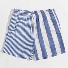 Shorts de hombres de rayas unidos de cintura con cordon