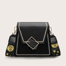 Stitch Flap Trapezoid Crossbody Bag