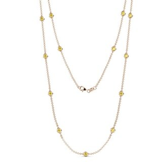 TriJewels 13 Stone Sapphire 1 3/8 ctw Womens Station Necklace 14K Gold (Yellow Sapphire - Rose)