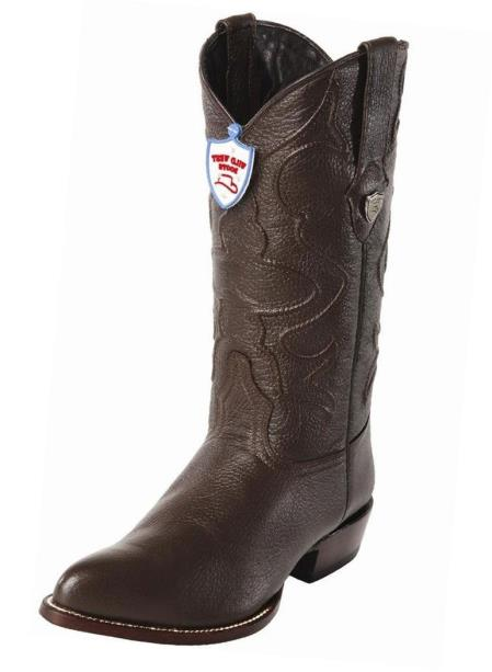 Wild West Men's Brown Handcrafted Genuine Elk Leather JToe Style Boots