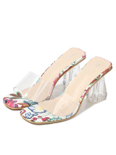 Milanoo Zapatillas sandalias para mujer Ope Toe Block Heel Clear Snadals