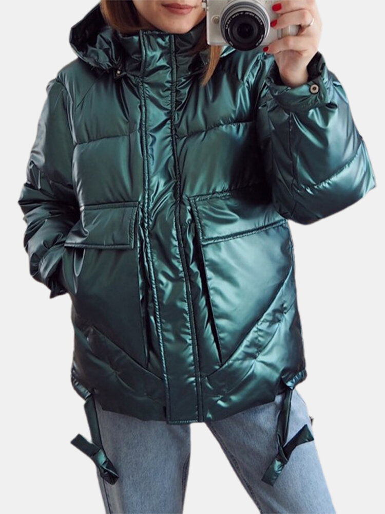 Solid Color Hooded Plus Size Coat with Pockets