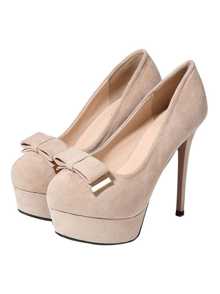 Milanoo Womens Platform Heels Sexy Pumps Round Toe High Heels Party Shoes in Apricot