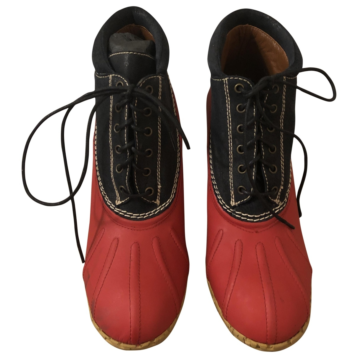 Hilfiger Collection \N Red Leather Ankle boots for Women 38 EU
