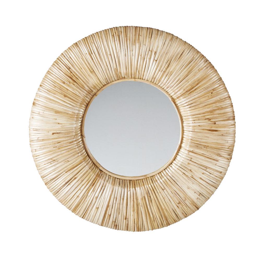 Runder Spiegel aus Rattan D91
