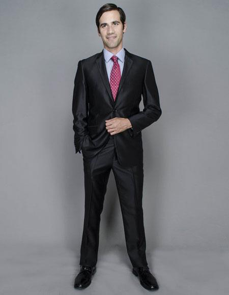 Mens Shine Slim 2Buttons Giorgio Fiorelli Brand suits Flat Front Pants