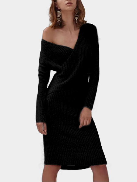 Yoins Black Crossed Front Design V-neck Long Sleeves Sweaters Dress