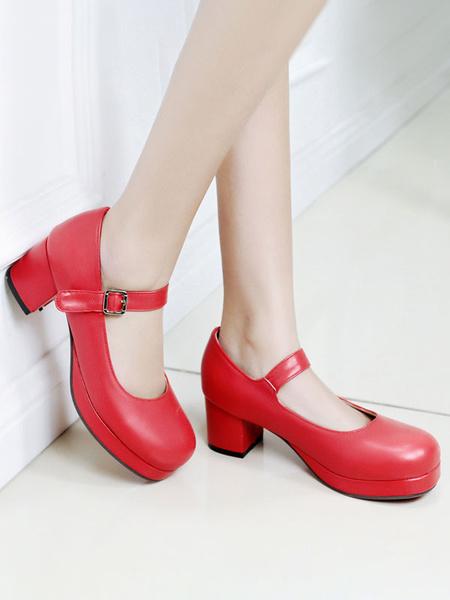 Milanoo Sweet Lolita Footwear Round Toe PU Leather Ankle Strap Lolita Pumps