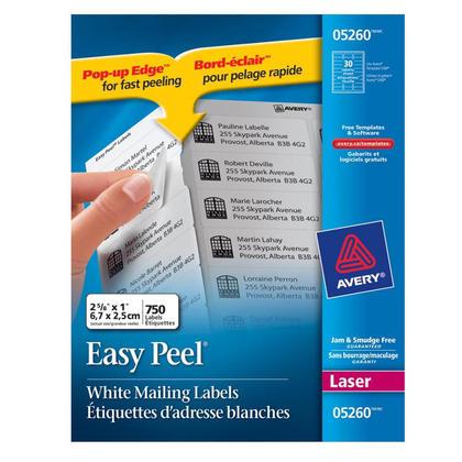 Avery@ Easy Peel@ White Laser Address Labels - 2-5/8