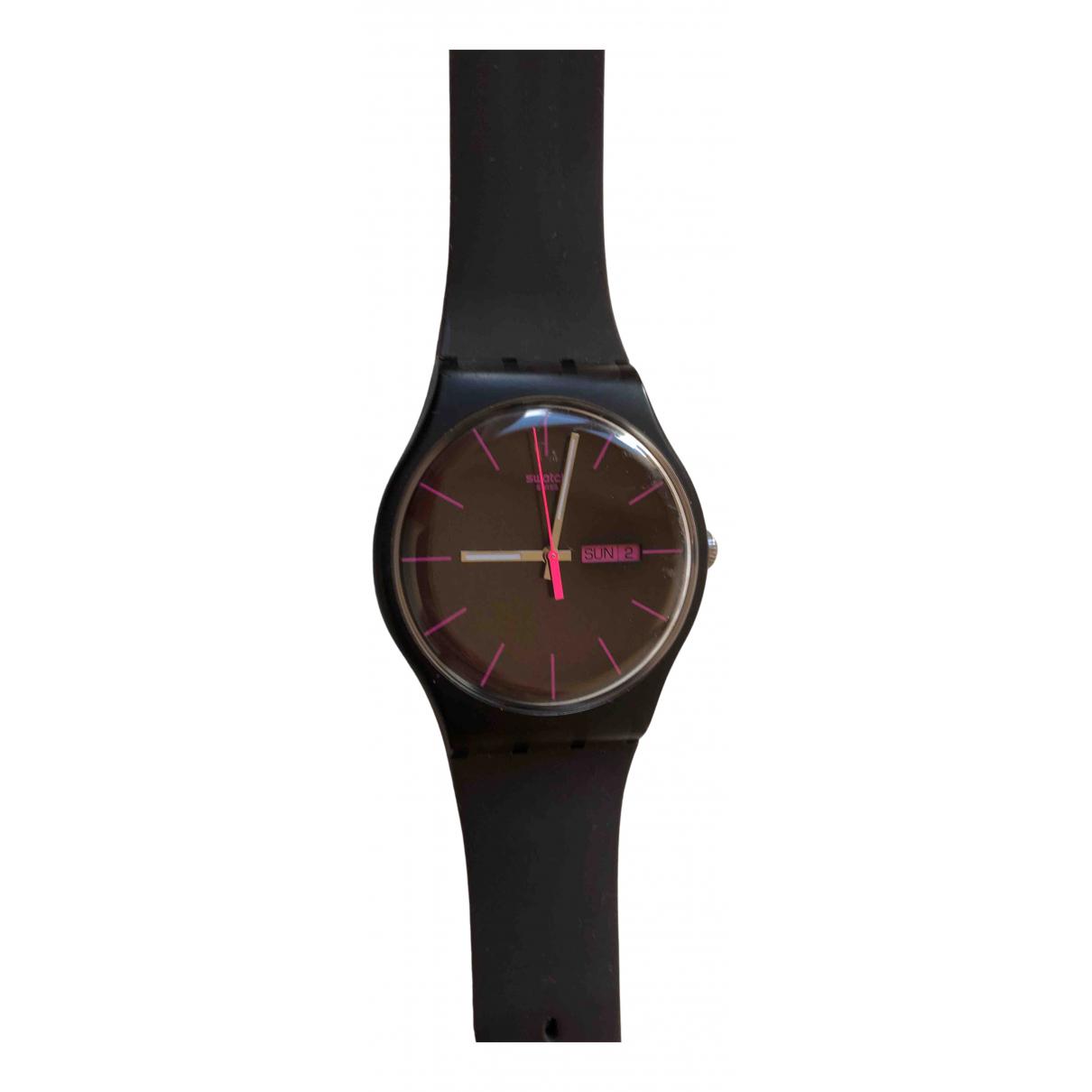 Swatch - Montre   pour femme en caoutchouc - noir