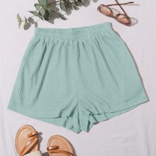Waffle Knit Solid Shorts