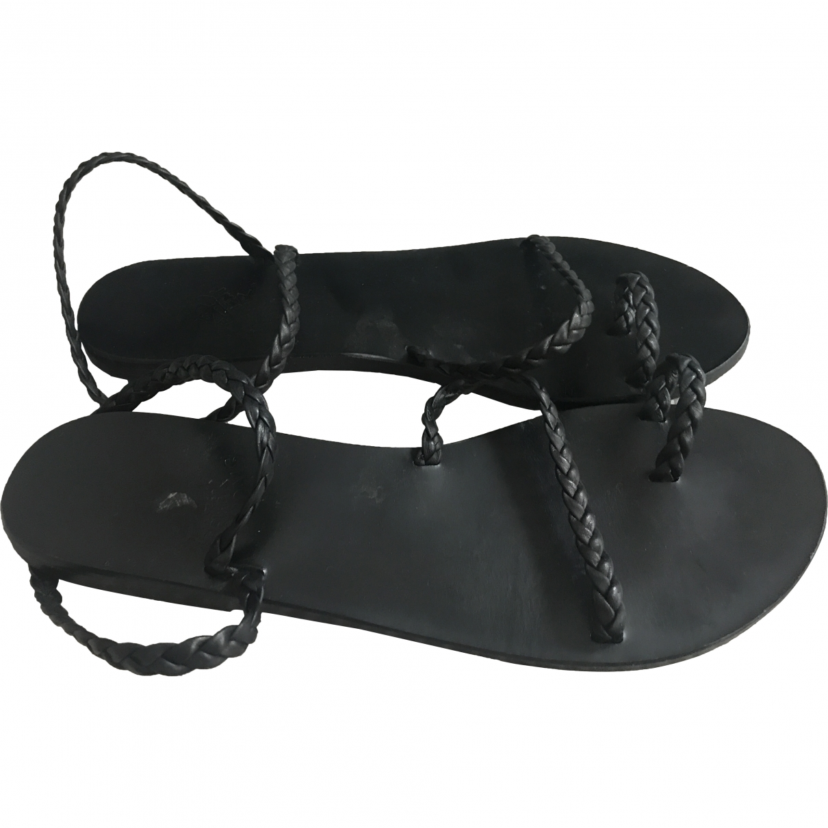 Ancient Greek Sandals \N Black Leather Sandals for Women 39 EU