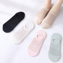 5 Paare Einfarbige Socken mit Netzstoff