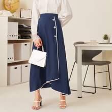 Contrast Binding Asymmetric Hem Wrap Skirt