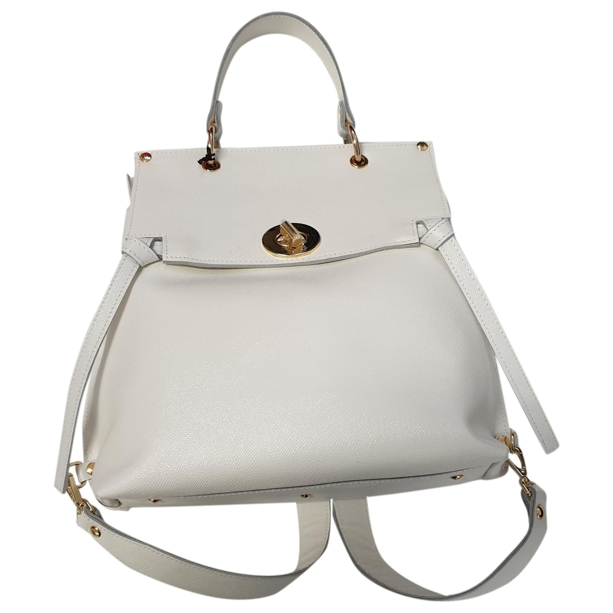 Non Signé / Unsigned \N White Leather backpack for Women \N