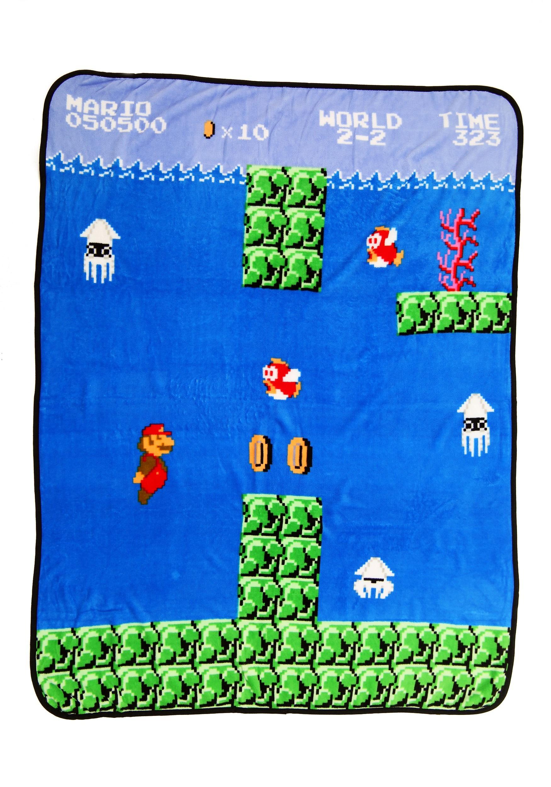 Fleece Super Mario Brother Coral Throw