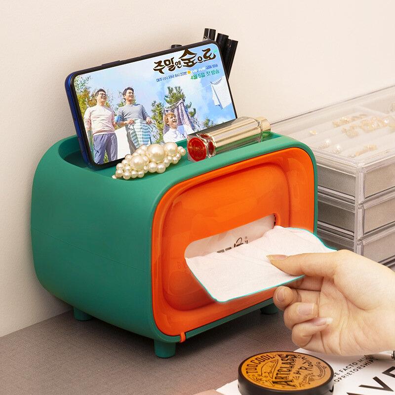 Multifunctional Tissue Box Retro TV-type Desktop Creative Net Red Bedroom Coffee Table Remote Control Storage Tray