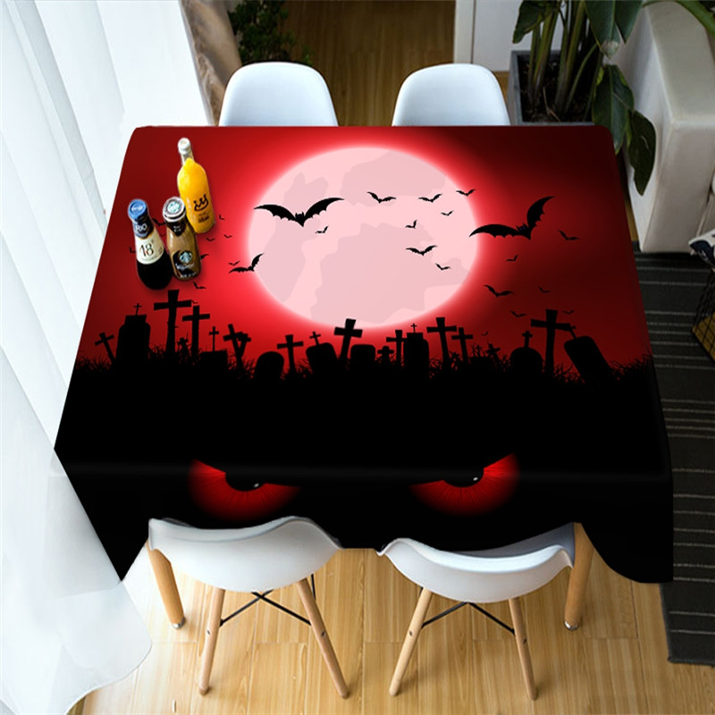 3D Witch and Pumpkin Scary Away the Ghost Printing Polyester Table Cover Cloth