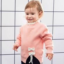 Pullover mit Ruesche am Kragen, Schleife vorn und Schlitz