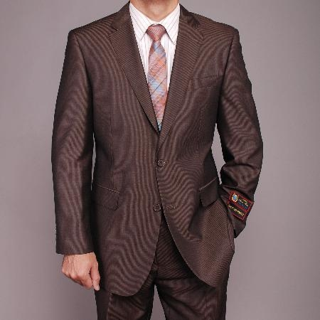 2 Button Brown Microstripe Suit Mens Cheap