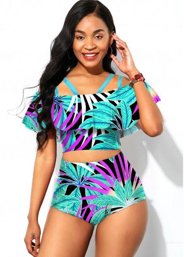 Sexy Bikinis Ruffle Overlay Spaghetti Strap Tropical Print Bikini Set - XS