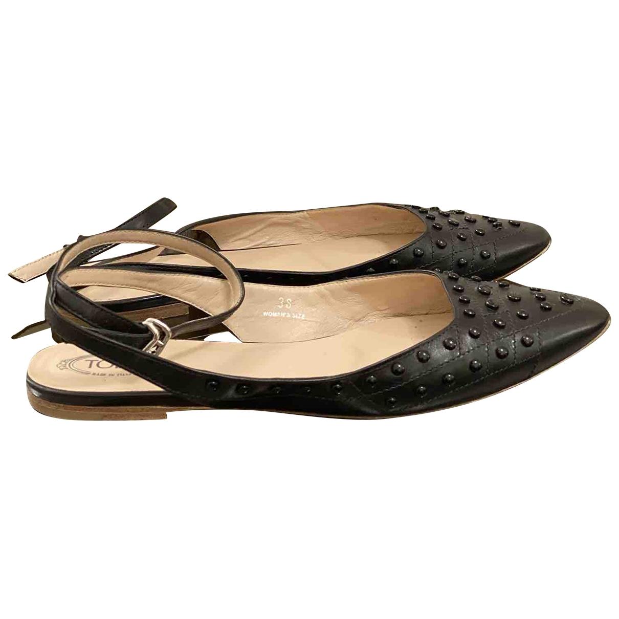 Tods - Sandales   pour femme en cuir - noir