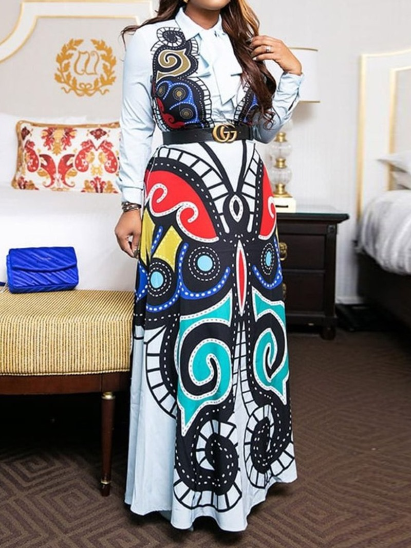 Ericdress Lapel Print Floor-Length Dress