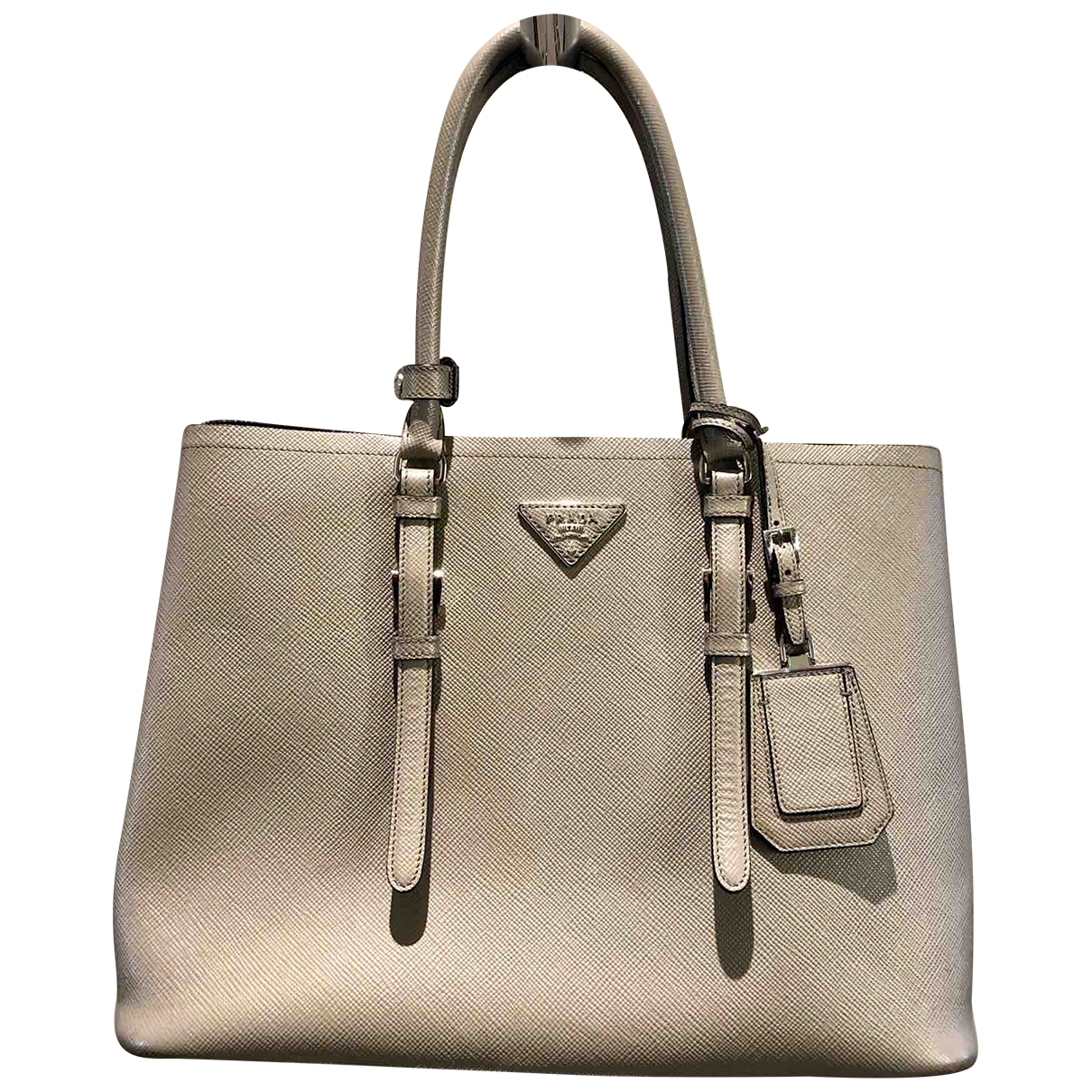 Prada Double Handtasche in  Grau Leder
