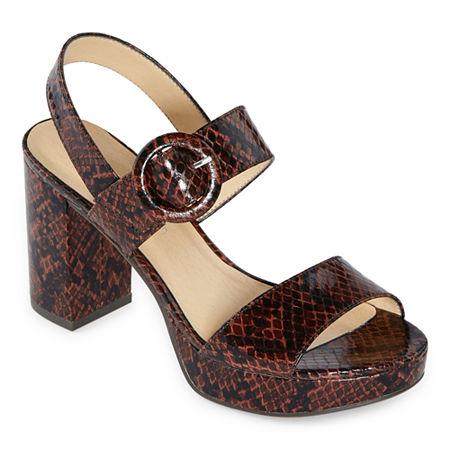 CL by Laundry Womens Gwenn Pumps Block Heel, 7 1/2 Medium, Brown