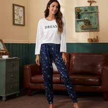 Galaxy & Letter Graphic PJ Set