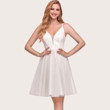 Zip Back Mesh Cami Prom Dress