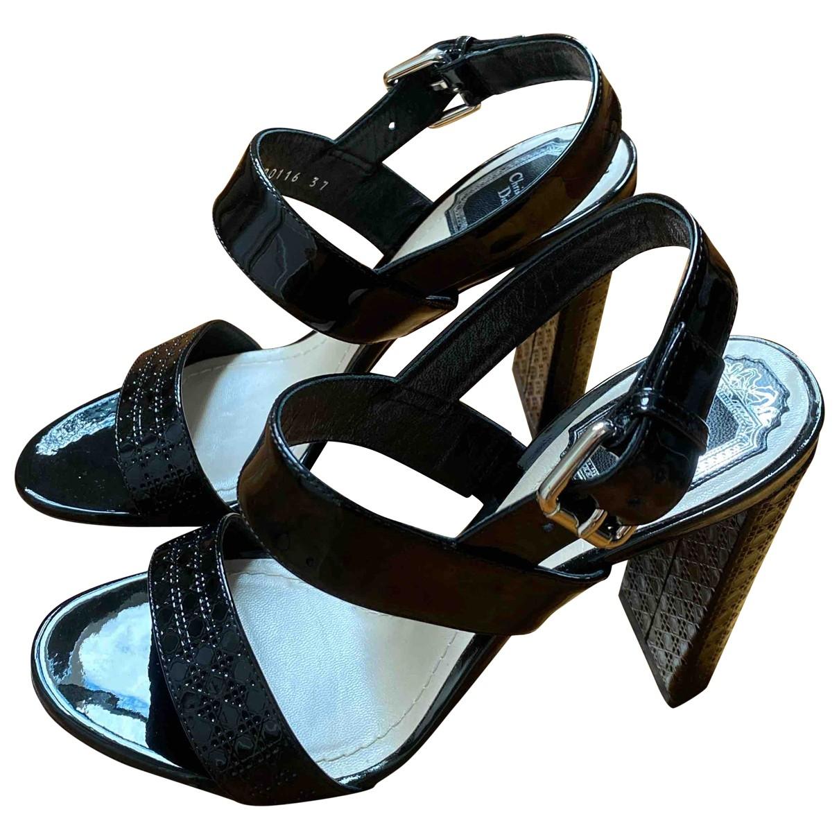 Dior - Sandales   pour femme en cuir verni - noir