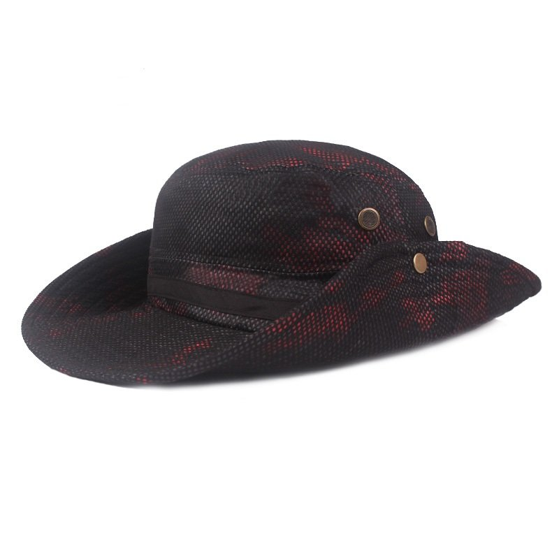 Men Summer Cotton Camouflage Visor Bucket Hats Fishing Hat Outdoor Climbing Mesh Sunshade Cap