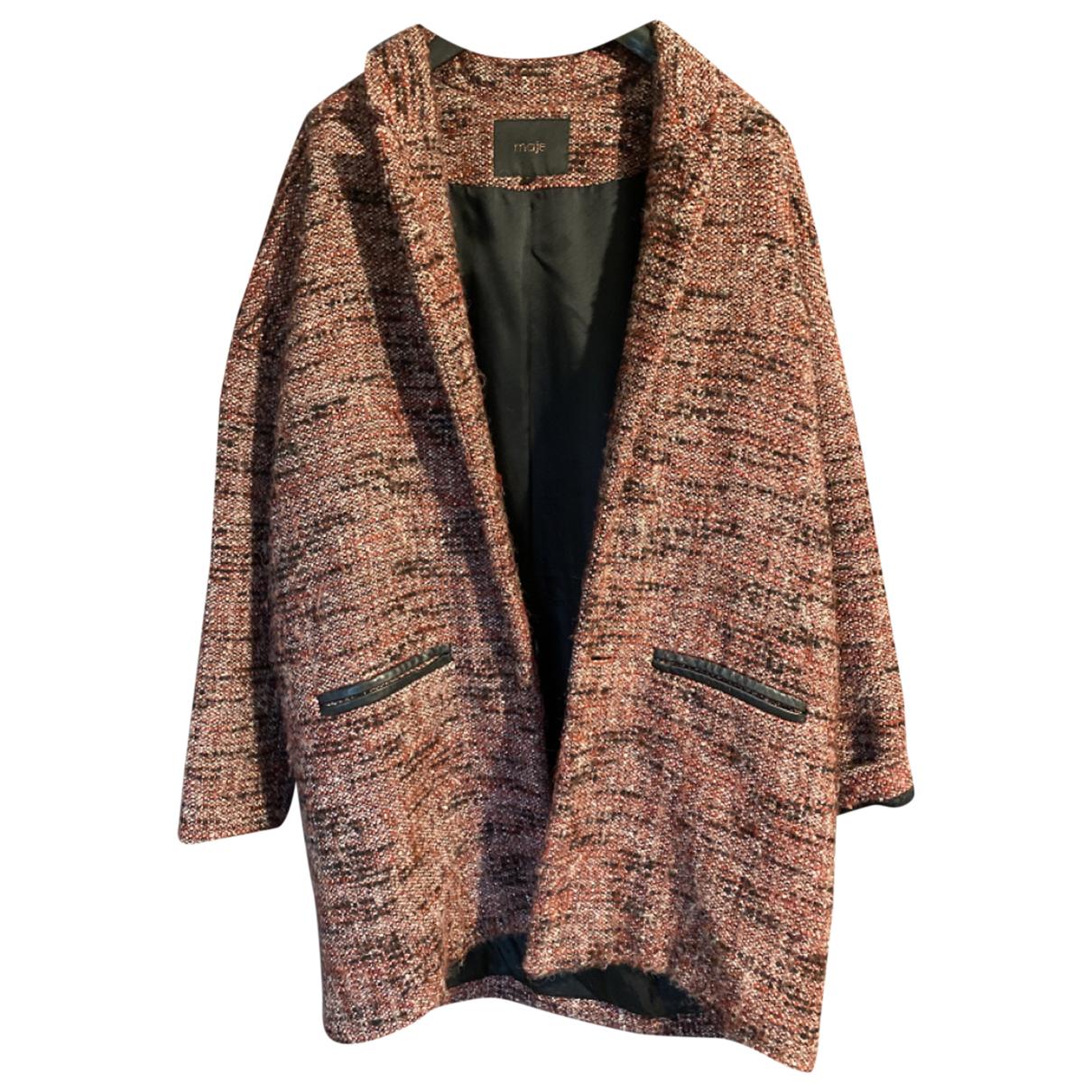 Maje - Manteau   pour femme en laine - bordeaux