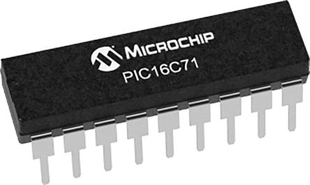 Microchip PIC16C71-04I/P, 8bit PIC Microcontroller, PIC16C, 20MHz, 1.75 kB Flash, 18-Pin PDIP (25)