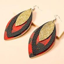Christmas Plaid PU Leather Drop Earrings