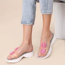 Transparent Twin Buckle Band Chunky Sole Sandals