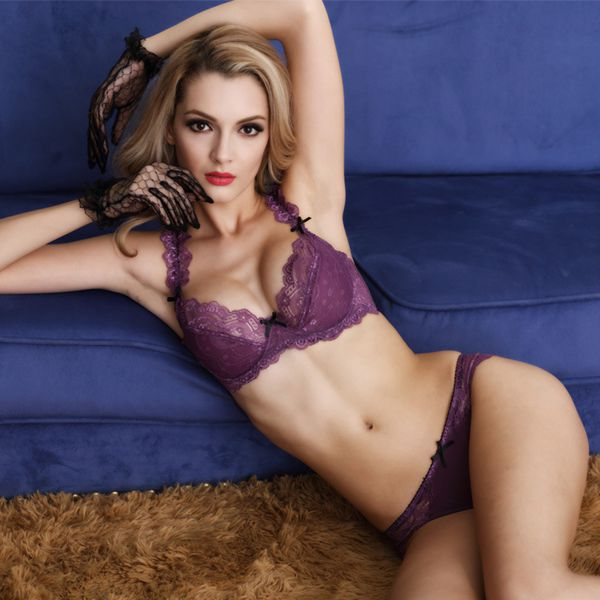 Charming Floral Pattern Lace Hollow Style Bra Underwear Sets