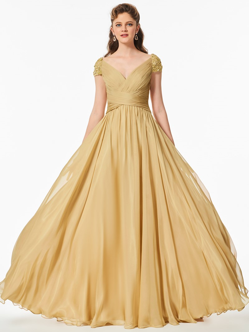 Ericdress A Line Beaded Short Sleeve Pleats Long Prom Dress