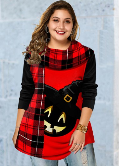 Halloween Print Long Sleeve Plus Size T Shirt - 1X